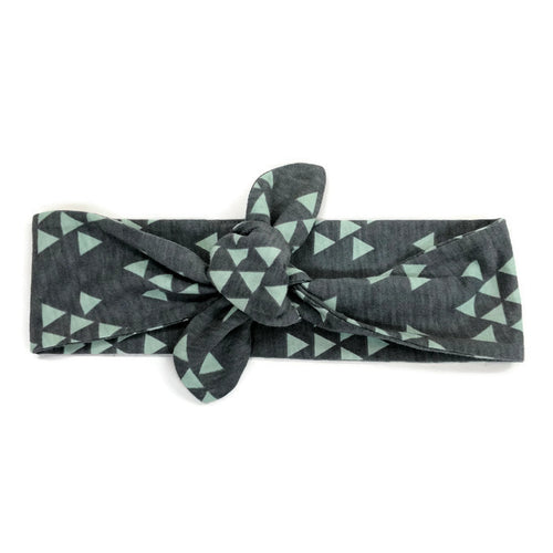Top Knot Headband - Charcoal and Mint Triangles