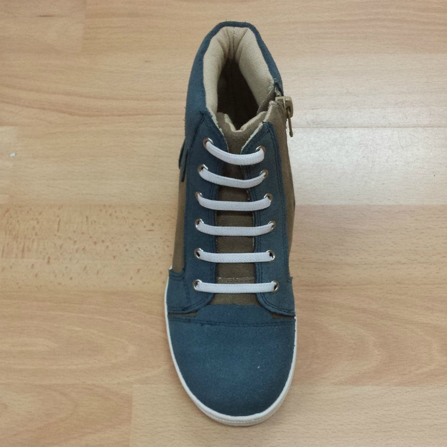 Walnut Kik High Top Navy Taupe. Suede high top with navy star and white elastic faux laces.