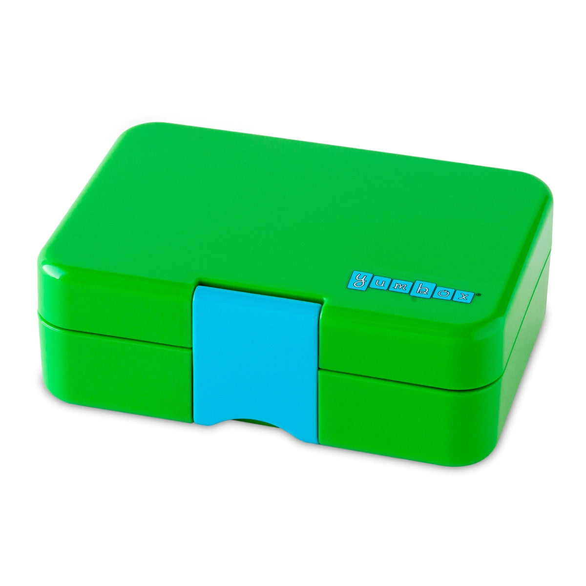 Green mini snack box closed showing blue latch.