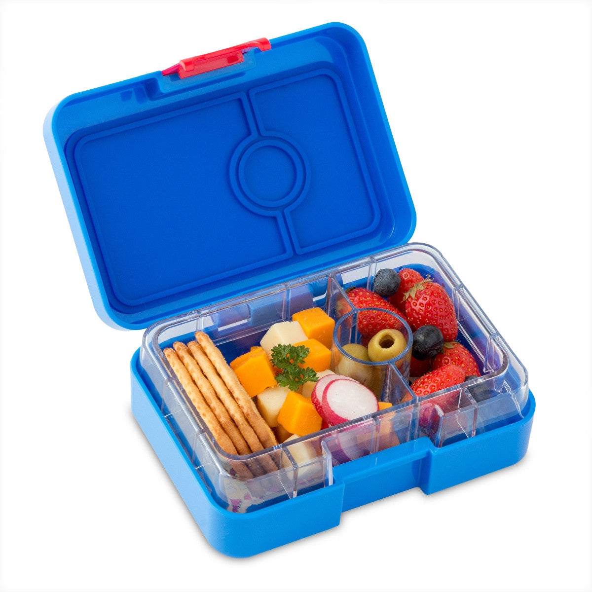 Blue mini snack box open and filled.