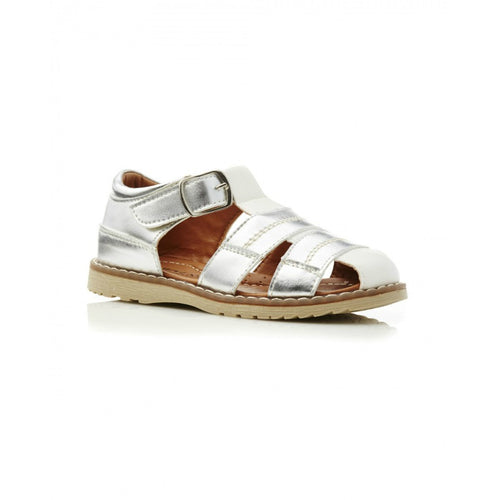 Walnut Frankie Sandal White and Silver