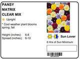 PANSY MATRIX CLEAR MIX - FLAT OF 48 PLANTS