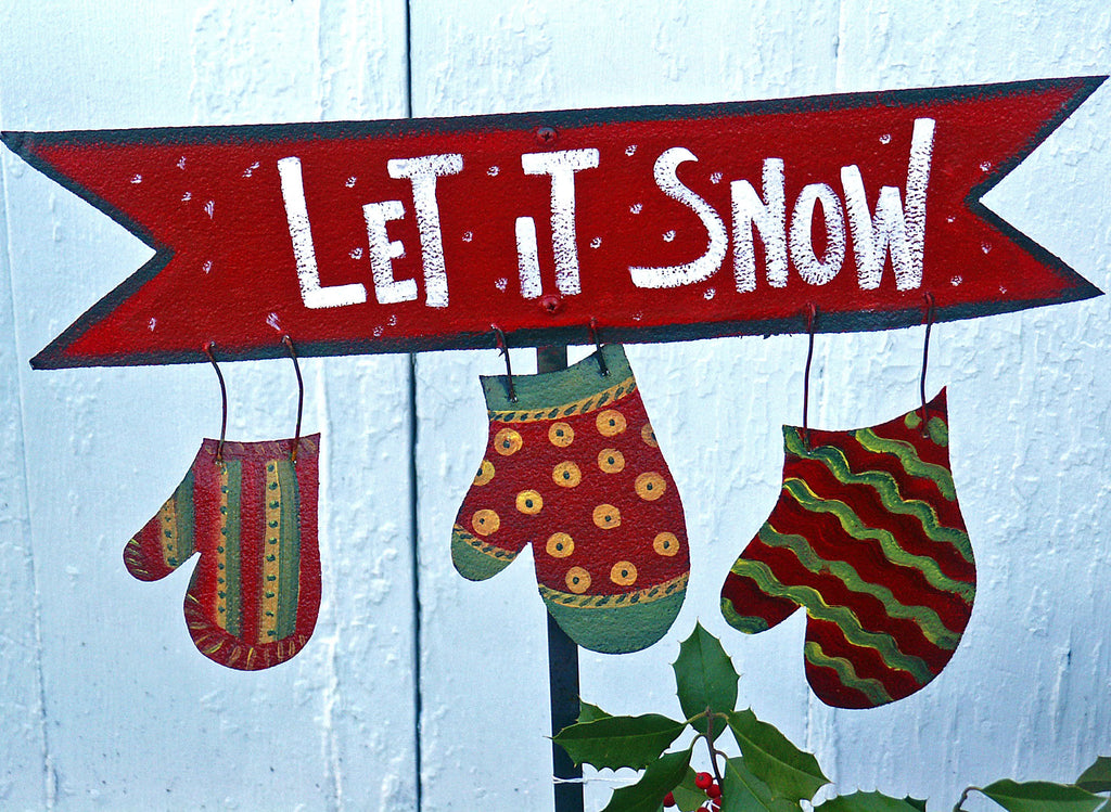Let It Snow sign stake - Kitty's Ltd.
