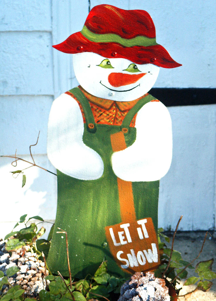 Snowman with shovel stake - Kitty's Ltd.