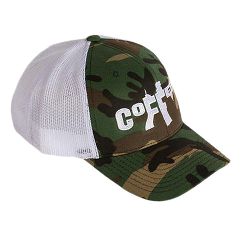COFFEE AR TRUCKER HAT - CAMO WITH WHITE MESH