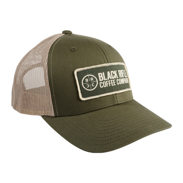 Company Logo Patch Hat, Loden with Camo Mesh