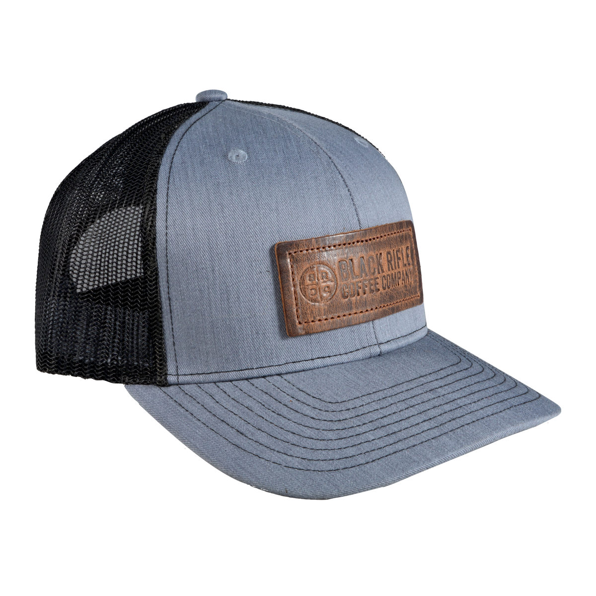 One Legging it Around got Viability? Leather Light Brown Patch Engraved Trucker Hat