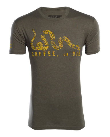 """Coffee, Or Die"" Shirt-Gold on Green"