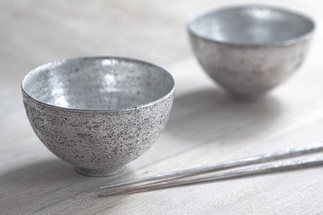 Takashi Endo - Pair of Rice Bowls in Silver
