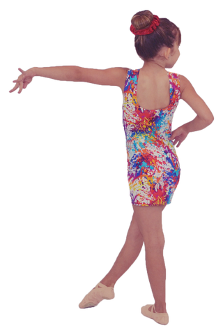 Rainbow Paint Splatter Dance Dress