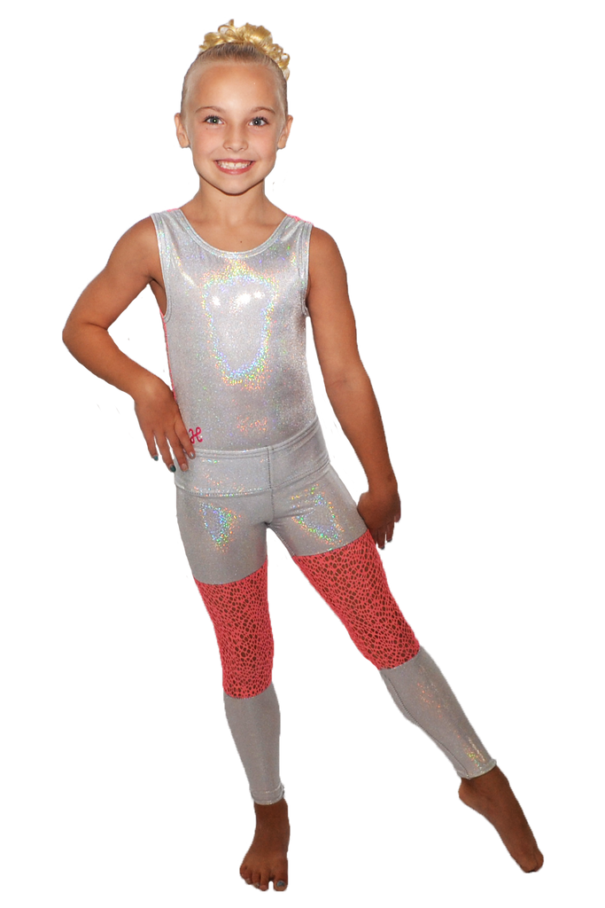White Sparkle with Coral Mesh Yoga Pant