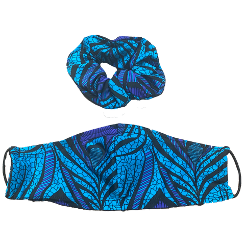 Peacock Face Mask & Scrunchie Set