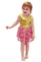 Gold and Pink Flower Embroidered Dance Dress