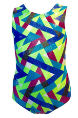Neon Sparkle Geo Open-Back Leotard