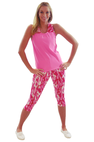 Pink Camo Tank and Yoga Capri Set