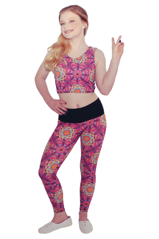 Pink Psychedelic Crop Top & Yoga Pant Set