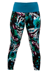 Turquoise & Plum Feather Yoga Pant