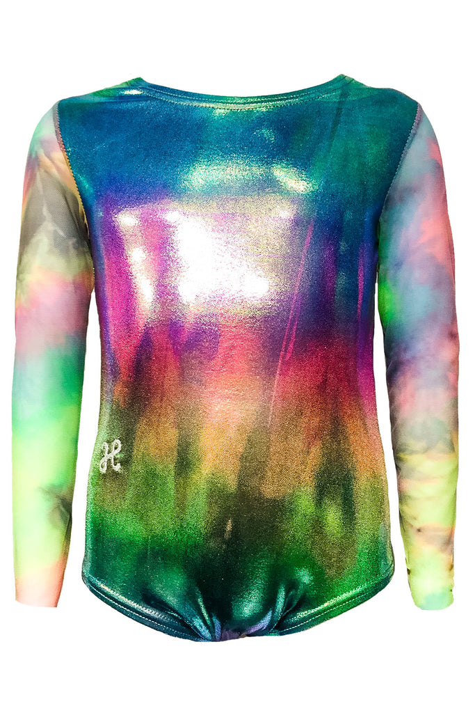 Sparkle Rainbow Tie Dye Leo with Mesh Long Sleeves