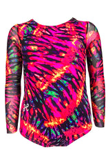 Red Tie-Dye Leotard with Mesh Long Sleeves
