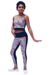 Technicolor Crop and Yoga Pant Set