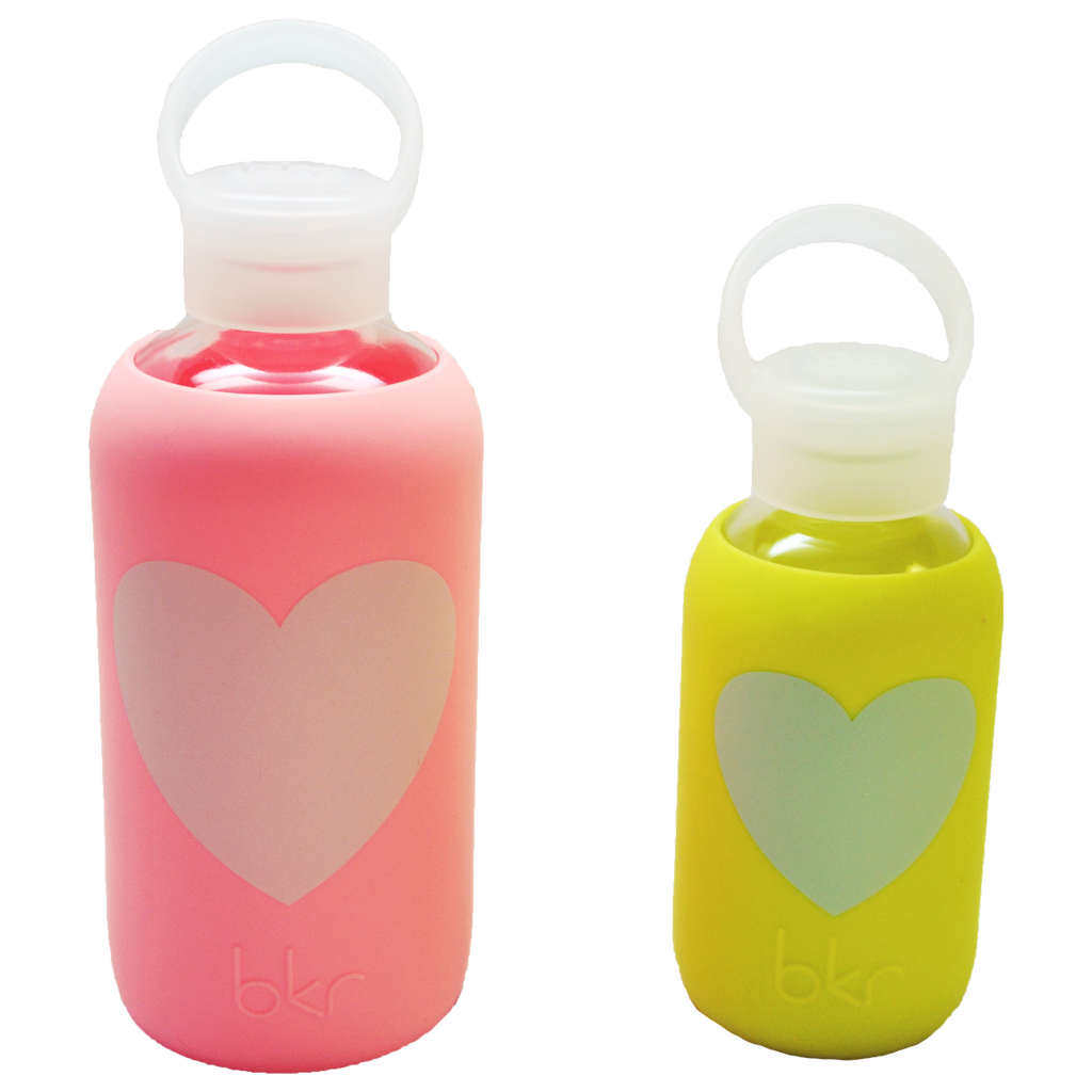 Big & Little Water Bottle Set - Pink & Yellow Heart