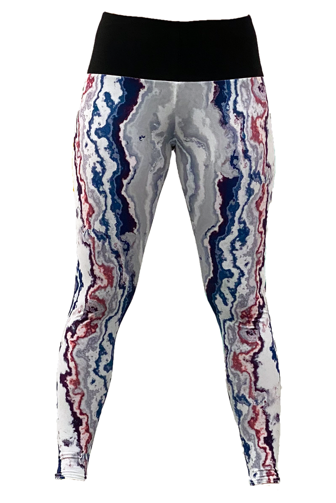 Grey, Blue & Red Geode Yoga Pant