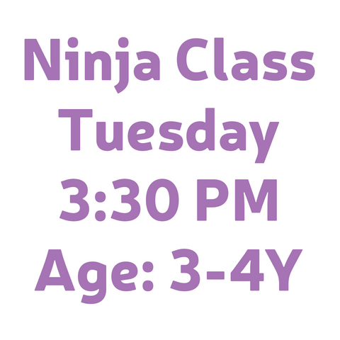 NINJA TUESDAY 3:30PM AGE 3-4Y