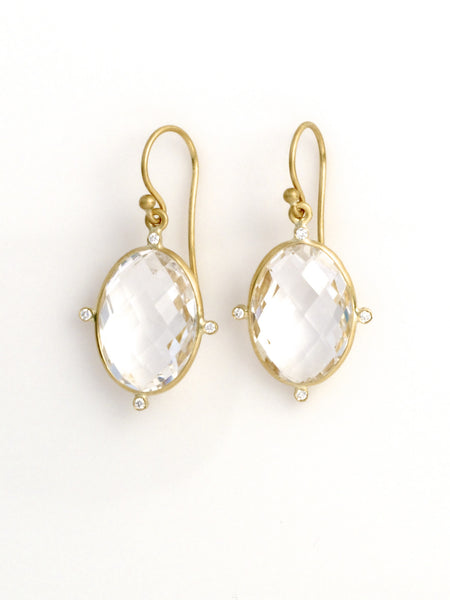 Rock Crystal small oval 'node' diamond earrings