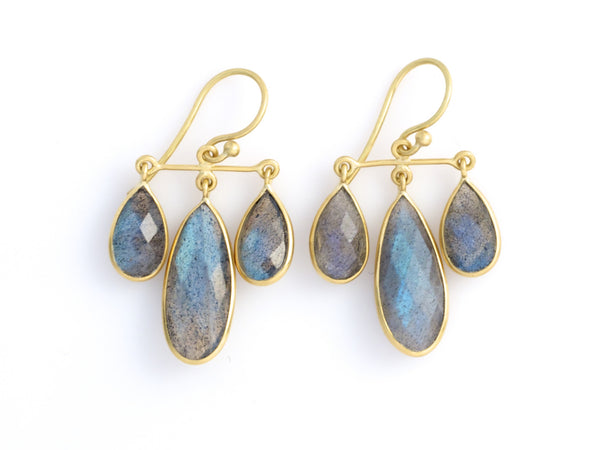 Labradorite contemporary chandelier earrings