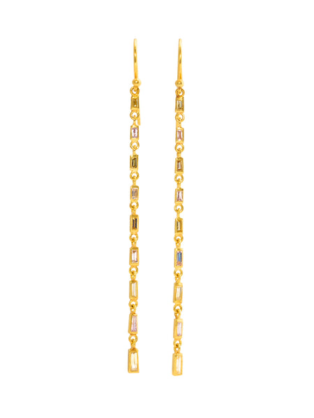 Diamond baguette 'linear' earrings