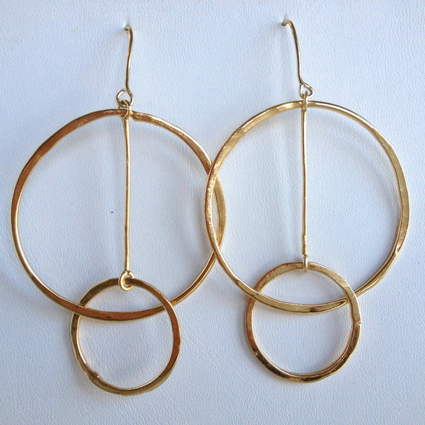 Peace Earrings, 18k gold finish
