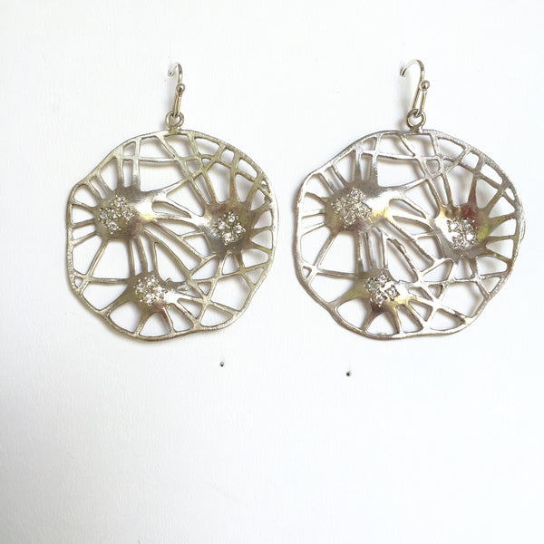 Starburst earrings, sterling with diamond accents