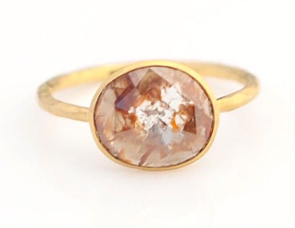 Rustic rose cut diamond ring