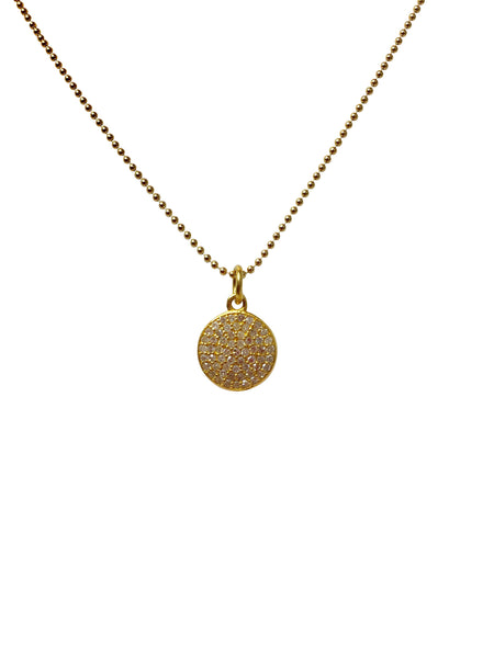 18k baby full moon diamond disc pendant