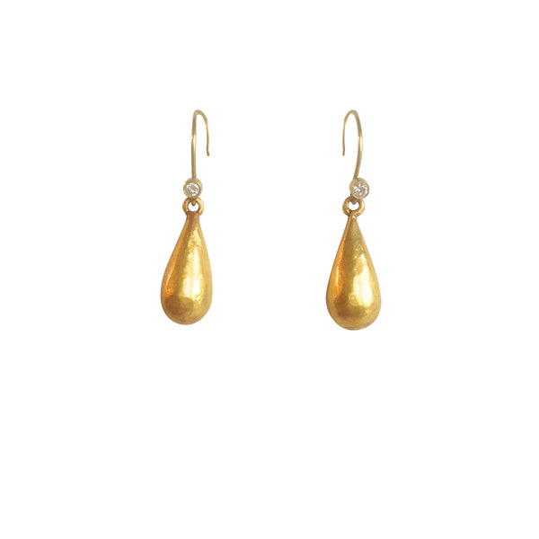 18k Gold drop earrings w diamond accent