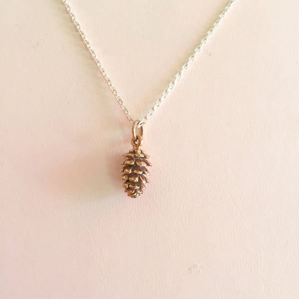 Pinecone Necklace gold finish