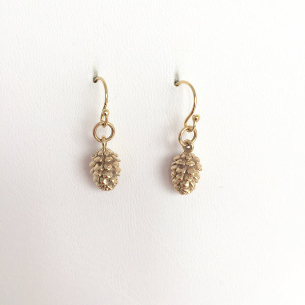 Pine Cone Earrings ,Gold finish