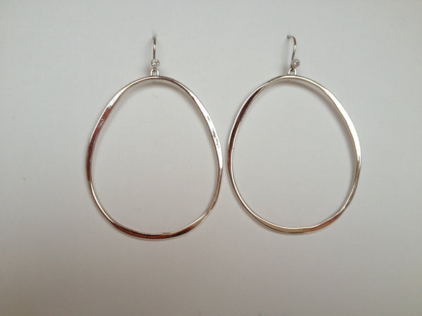 White gold hoops w diamond accent