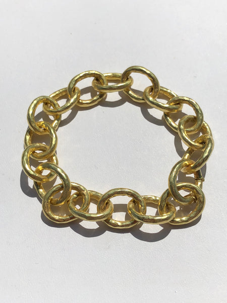 18k gold hammered large link bracelet