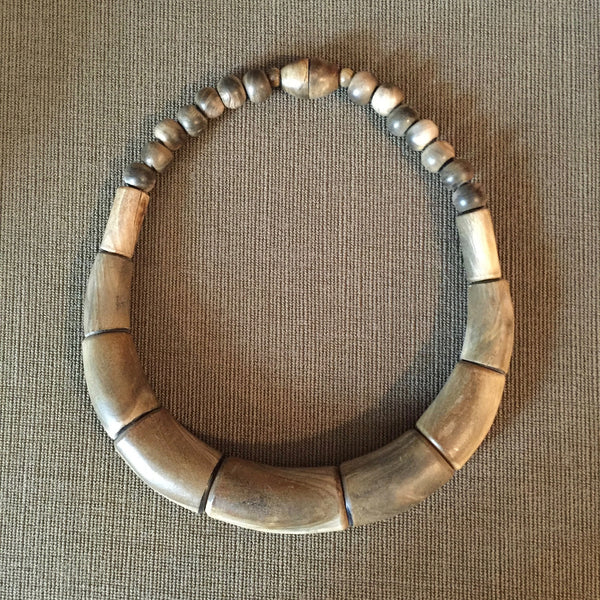 Carved wood necklace