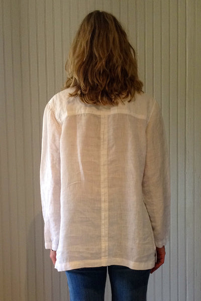 Lace-Up Linen Blouse white