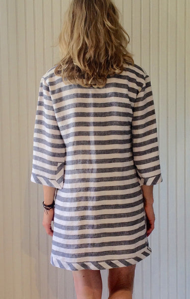 Go-Go Tunic Striped Gray and White Linen