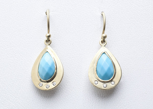turquoise in gold teardrop
