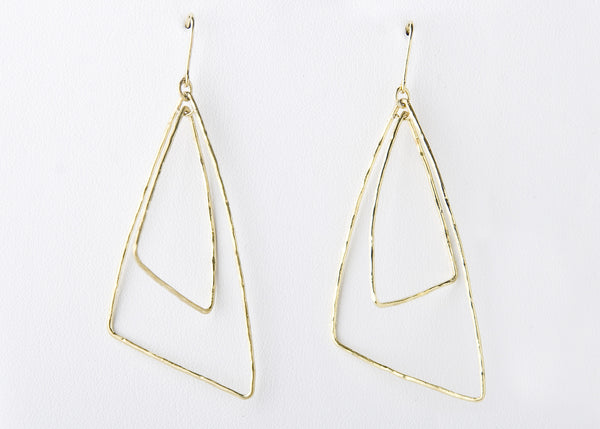 Double Triangle Earring, Gold Filled Wire