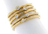 Yellow gold and diamond stacking rings