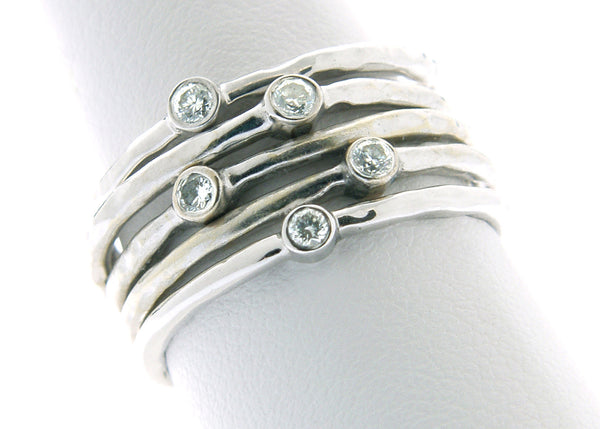 18k white gold diamond stacking rings