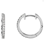 "14k  ""skinny"" diamond hoop earrings"