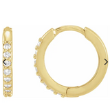 14k  diamond yellow gold hinged hoop earring