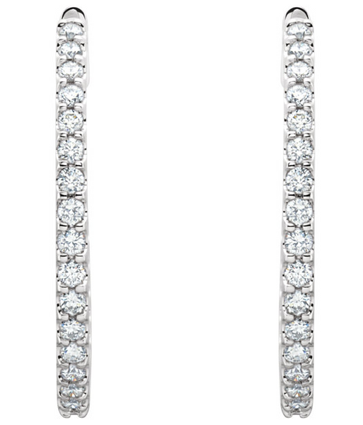 Diamond inside-outside hoops 14k