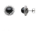 Black pearl post earrings, 8mm